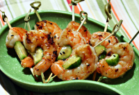grilled sesame-lime shrimp and cucumber skewers