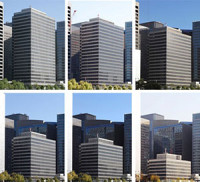 The shrinking height of a building captured in a series of