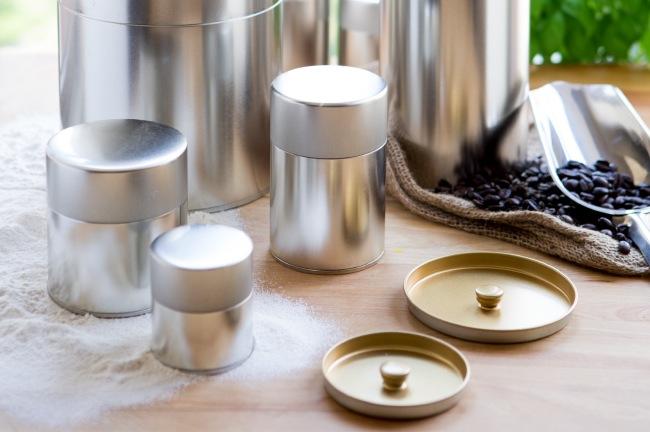 Kotodo Takahashi Corporation - Silver Tin Tea Canisters