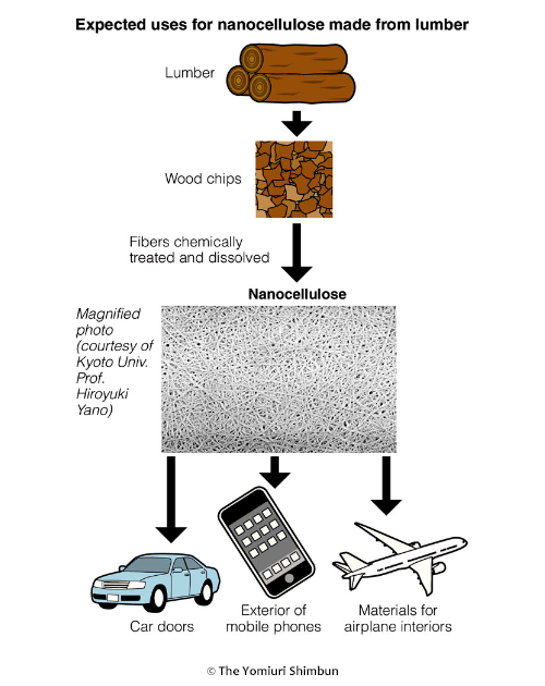 Expected uses for nanocellulose made from lumber