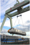 Hitachi - A Class 800 train is being loaded for shipment to UK