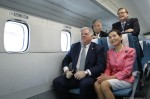 Maryland Gov. Larry Hogan sits on board a magnetic-levitation (maglev) train at the Yamanashi Maglev Test Track.