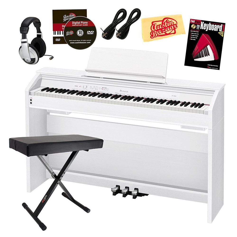 Casio Privia PX-860 Digital Piano Bundle with Gearlux Bench, Austin Bazaar Instructional DVD, Instructional Book, Headphones, Instrument Cables, and Polishing Cloth
