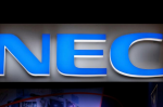 A logo of NEC Corp is pictured at CEATEC (Combined Exhibition of Advanced Technologies)