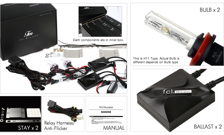fcl. Monobee 35W Single Bulb HID conversion kit