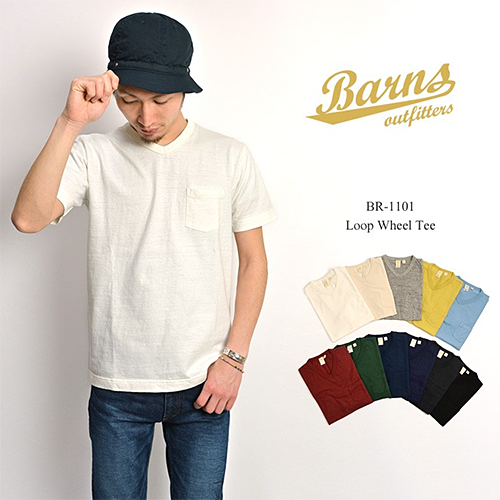 BARNS hanging knitting T-cloth loop wheel V neck pocket T-shirt