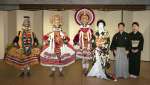 Onoe Kikunosuke and Jiuta players with the members of The International Centre for Kathakali Photo by Takashi Kato (Photo courtesy of Shochiku)