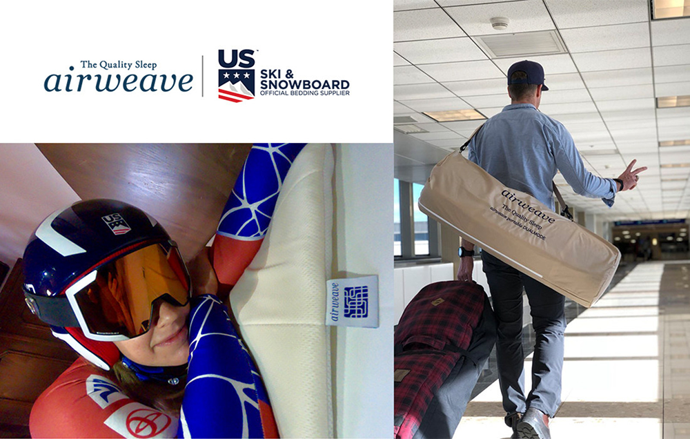 airweave Portable mattresses is US Ski Team athlete, Alice McKennis (L), and US Snowboard Team athlete, Alex Deibold (R).
