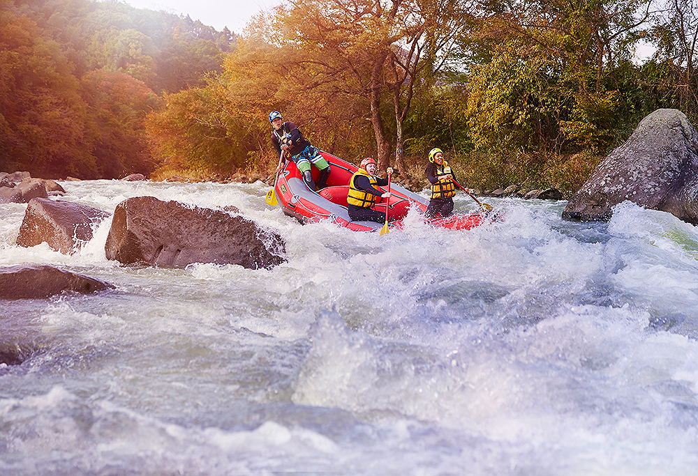 Adventure sports abound in Japan, such as white water rafting at the Minakami Outdoor Adventure in Gunma Prefecture