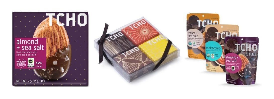 TCHO Chocolate Products, Left: 70g Bar, Middle: 8g Bar, Right: 140g Bites