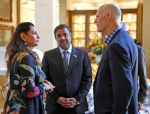 Governor Rick Scott of Florida and Industrialist Hotelier Danny Gaekward Discussing Kansai's Anti-Mosquito Paint with Kalpana Abe, Vice President, President's Office, Kansai Paint Co., Ltd.