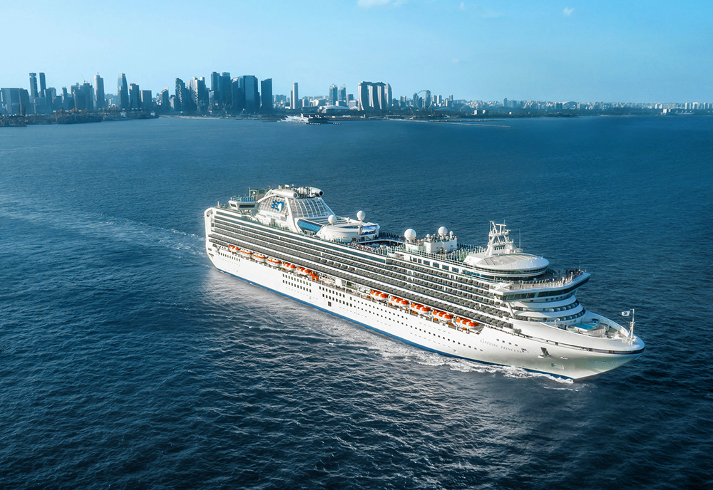 Diamond Princess built by Mitsubishi Heavy Industries, sails