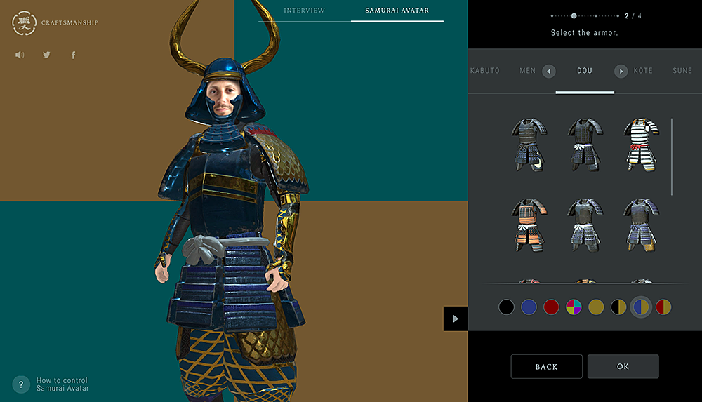 """""""IS JAPAN COOL?"""" - """"CRAFTSMANSHIP"""": On the SAMURAI AVATAR page, visitors will be able to make their own SAMURAI AVATAR."""