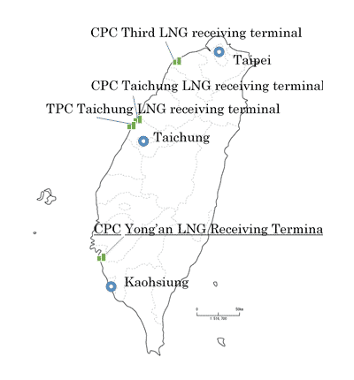 Location of LNG Receiving Terminals in Taiwan