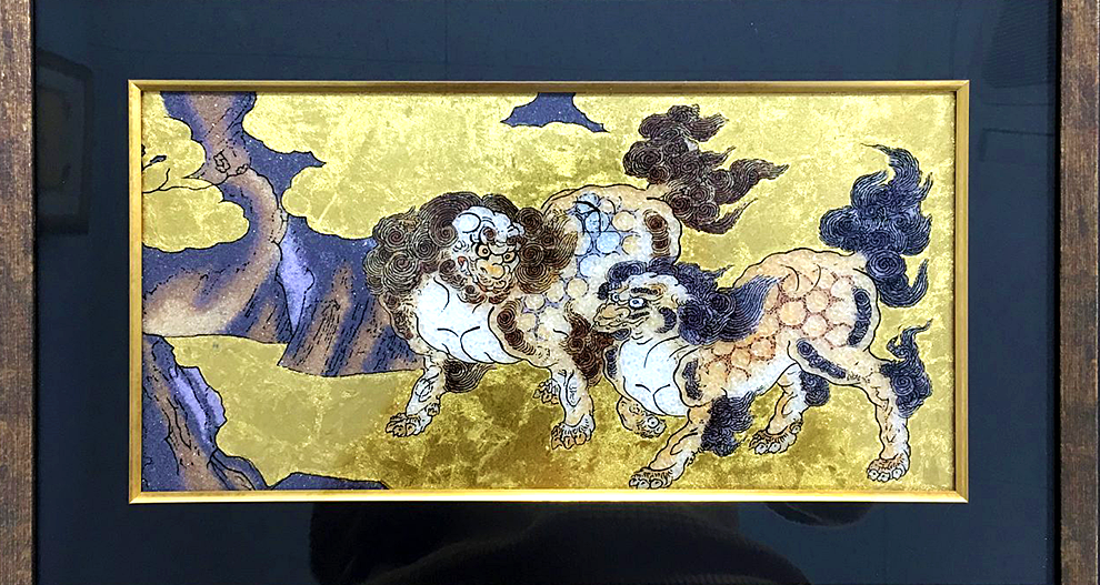 Jewelry Art Painting - The folding screen painting of Chinese lions / Kano Eitoku